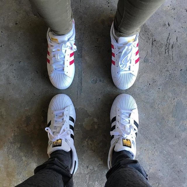 """The """"superstar"""" couple 😊❤️ #adidas #adidassuperstar #white #pink #gold #classic #shoes #sneakers #love #couple"""