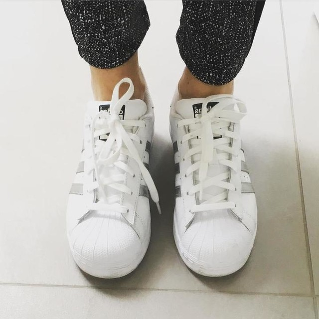 Adidas Superstar Shoes White And Silver