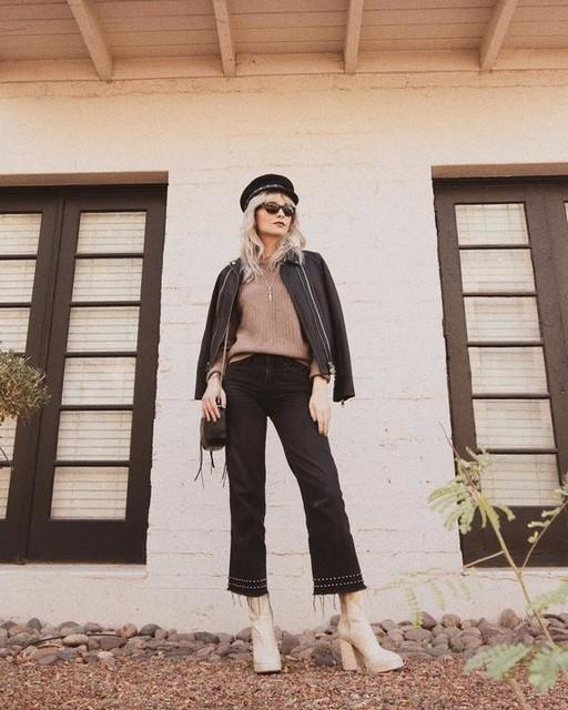 electric.bones - Ava Studded Hem Straight High-Rise Jeans, Washed Black