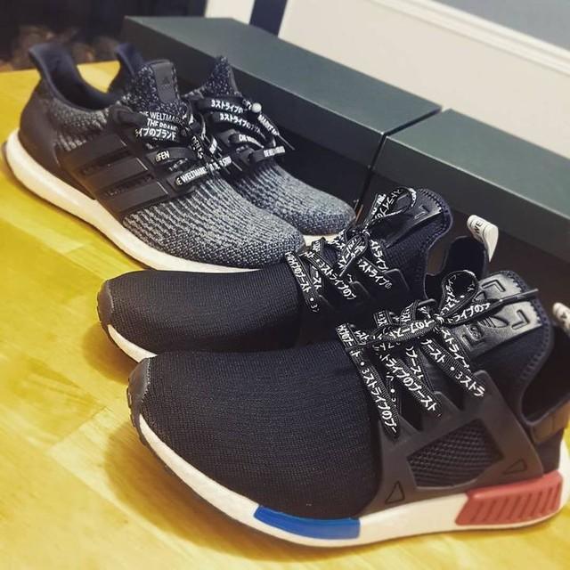 I think I'm going Japanese 🇯🇵 😁😁😁 or International🌎 #adidas #boost #ultraboost #ultraboost3 #nmd #nmdxr1 #nmdxr1og #laceduplaces #katakana #adidasnmdog #3stripesstyle #customeverything