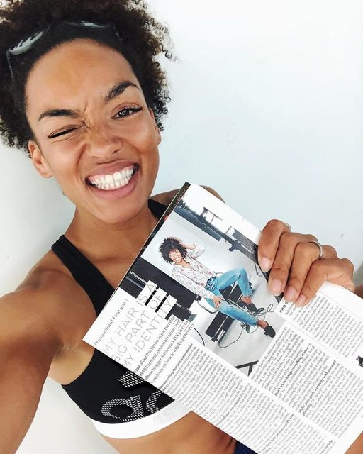 This month I'm chatting to @marieclaireuk about hair, identity & self belief ⚡️ Sometimes I wish that I could go back in time and show this kinda thing to my 13 year old self. 'Look it's you, in a magazine!!' Maybe then I wouldn't have hated having Afro hair so much. I might have even thought that it was pretty cool 😎 #adrienneldn #afrohair #beyourownpro #marieclaire #tresemme #confidence #curlygirl