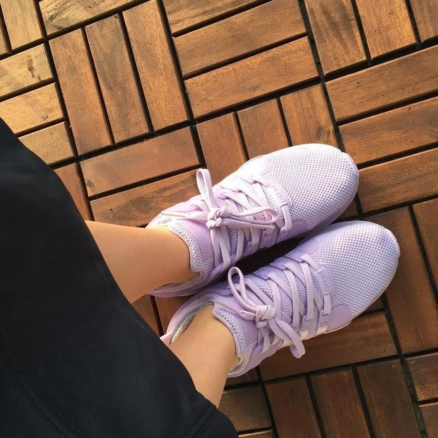 The girl with the purple shoes (and newly dyed brown hair) #adidas #eqt #ilovepurple