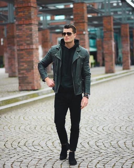 Dominik Persy - Cazadora biker de cuero Conroy