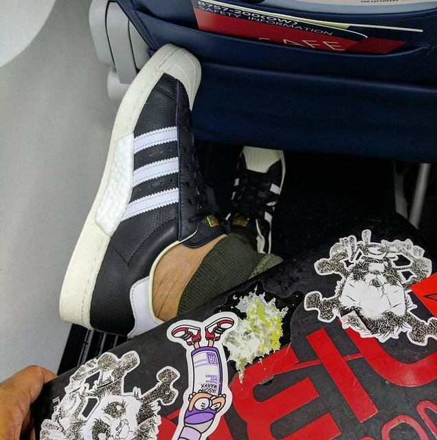 Going with another updated classic for this #kicksonaplane. The #boost #superstar @adidasoriginals in black. #boostVIBES on my favorite silhouette. Noice. #kicksoftheday #threestripes #adidas #kicksonfire #complexsneakers #solecollector #nicekicks #igsneakercommunity #complexkicks #sneakerpimps #threestripes #adidas #adidasoriginals #solecollector #igsneakercommunity #nicekicks #sneakerheads #3stripesstyle  Bay area, see ya soon!