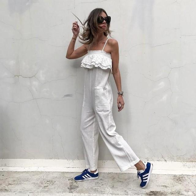 Summer state of mind!☀️ @trafficpeople jumpsuit & @lindafarrow shades @panaidiseyewearboutique & @adidasoriginals 😎 #shopranoblog #trafficpeople #jumpsuit #white #style #fashion #gazelle #gazelleadidas #adidas #adidasgr #adidasoriginals #sneakers #beststyle #fashionista #blogger