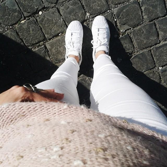 White & pink   jeans #zara sneakers #adidas #originals #vscocam #ootd #white