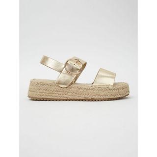 Gold Strappy Flatform Jute Sandals